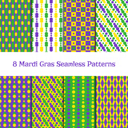 Set of 8 Mardi gras seamless patterns. Fat Tuesday backgrounds. Carnival or party design with beads, diamonds, dots, chessboard in yellow, green and purple. Pattewrn swatches included in Swatch panel.