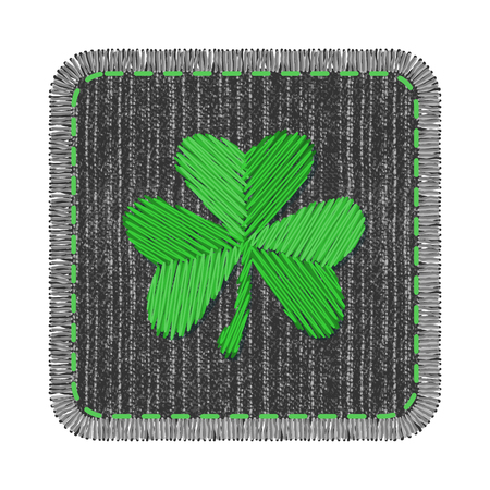 Black square denim patch with green shamrock embroidery, stitch and fringe. Rectangle jeans fabric with Irish symbol of Saint Patricks Day.