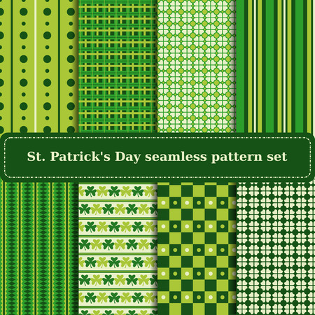 Set of St. Patricks Day backgrounds. Collection of green seamless patterns in traditional colors. Vector illustration.