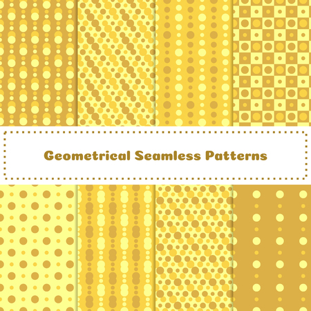 Set of yellow sunny backgrounds. Collection of geometrical seamless patterns. Vector illustration.