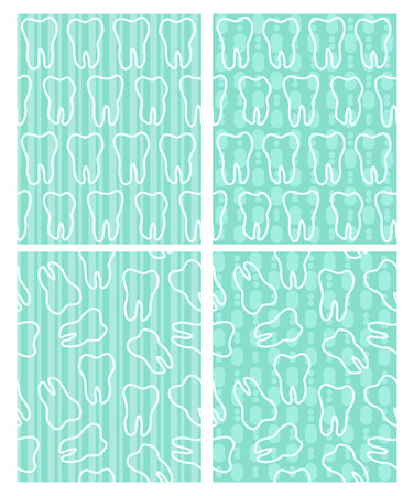 Set of dental seamless patterns with teeth on the light turquoise background. Design for International Dentist Day.