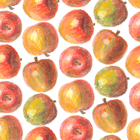 Crayon apple seamless pattern. Hand drawn artistic fruit repeatable background with oil pastels. Colorful illustration.