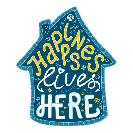 Hand getrokken belettering in sihlouette van huis. Geluk leeft hier. Kalligrafie vectorillustratie in huisvorm, blauw en geel gekleurd. Stock Illustratie