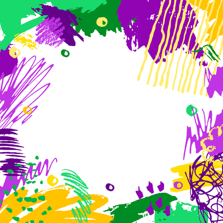 Mardi Gras card. Hand drawn Fat Tuesday background. Artistic colorful banner. Trendy abstract design with place for your text.  イラスト・ベクター素材