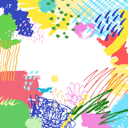 Colorful artistic creative card. Hand drawn modern background with place for your text. Trendy abstract header.