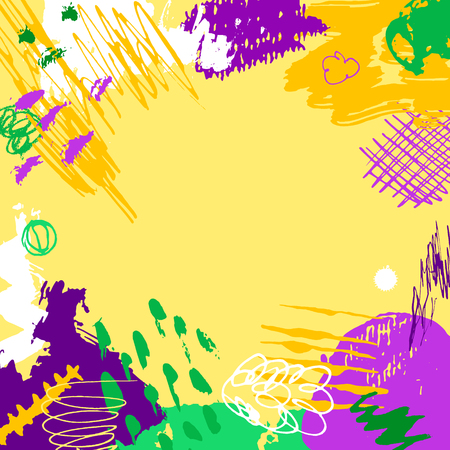 Mardi Gras card. Hand drawn Fat Tuesday background. Artistic colorful banner. Trendy abstract design with place for your text. Çizim