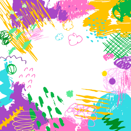 Colorful artistic creative card. Hand drawn modern background with place for your text. Trendy abstract spring or summer header.
