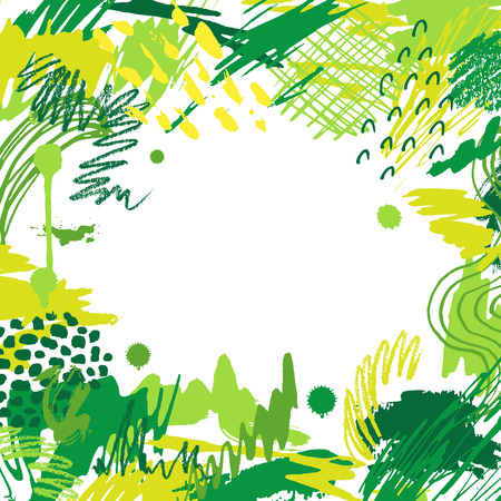 Colorful artistic creative card. Hand drawn modern green background with place for your text. Trendy abstract header. Illustration