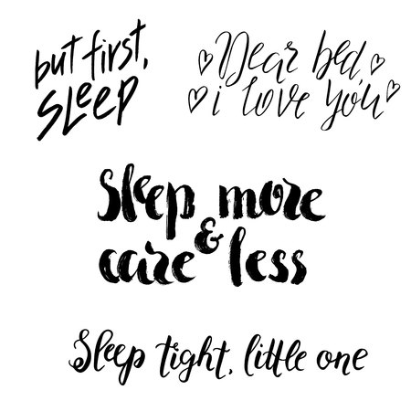 Set of sleep lettering, hand drawn quotes. World Sleep Day design, black phrase isolated on white background. Çizim