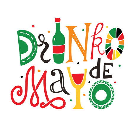 Drinko de Mayo hand drawn lettering illustration.