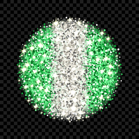 Federal Republic of Nigeria flag sparkling badge. Round icon with Nigerian national colors with glitter effect. Button design. Vector illustration. One of a series of signs