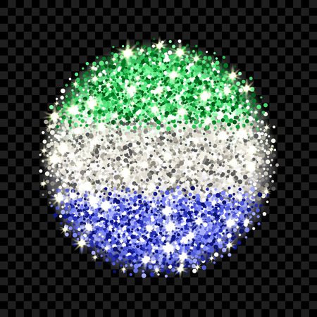 Republic of Sierra Leone flag sparkling badge. Round icon with Sierra Leonean national colors with glitter effect. Button design. Vector illustration. One of a series of signs