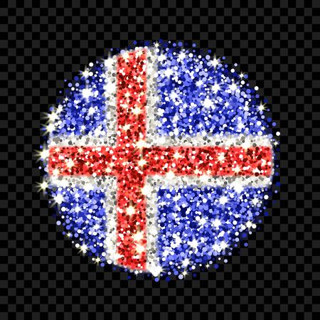 Iceland flag sparkling badge. Round icon with Icelandic national colors with glitter effect. Button design. Vector illustration. One of a series of signs Illustration