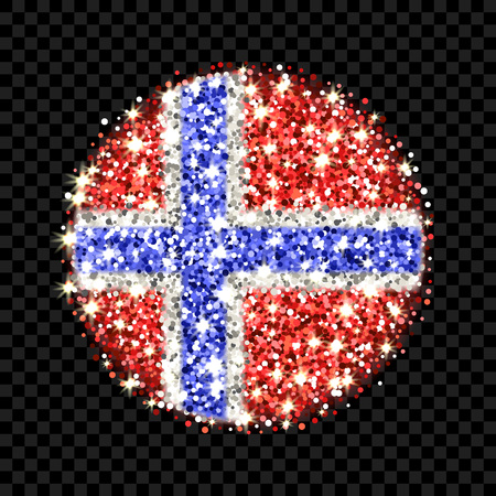 Round icon with Norwegian national colors with glitter effect Stock Illustratie