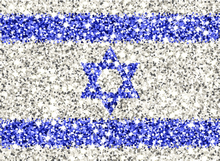 State of Israel sparkling flag. Icon with Israeli national colors with glitter effect in official proportions. Background design. Vector illustration. One of a series of signs Vettoriali