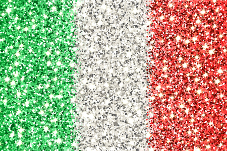 Italian Republic sparkling flag. Icon with Italy national colors with glitter effect in official proportions. Background design. Vector illustration. One of a series of signs
