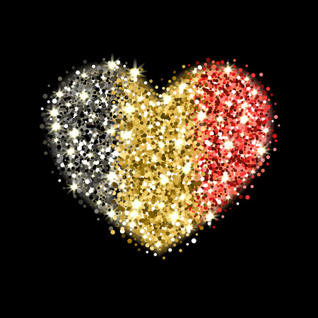 Kingdom of Belgium flag sparkling badge in heart shape. Icon with Belgian national colors with glitter effect. Button design. Vector illustration.
