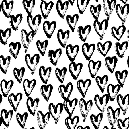 Seamless artistic abstract heart pattern. Hand drawn repeatable creative background. Paint stain grunge design from painted texture. Black and white brush strokes drawing.