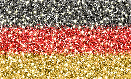Federal Republic of Germany sparkling flag. Icon with German national colors with glitter effect in official proportions. Background design. Vector illustration. One of a series of signs