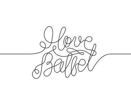 One continuous line drawing I love ballet. Modern calligraphy isolated on white background