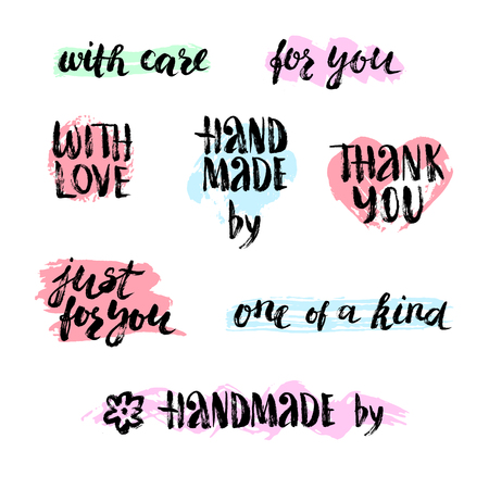 Set of handmade craft lettering phrases. Hand made quote for labels. Brush painted words