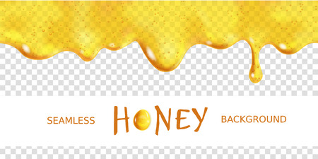Seamless dripping oil. Yellow transparent drop of sweet honey with bubbles. Vector design of syrup drips. Realistic background horizontal border Illustration
