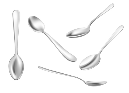 Set of realistic metal spoons from different points of view. 3d realism. Vector teaspoon illustration isolated on white background.