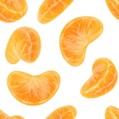 Seamless pattern of realistic mandarin or tangerine slices. Repeatable pattern made of peeled citrus segments on white background. Orange sections. Photorealistic vector illustration