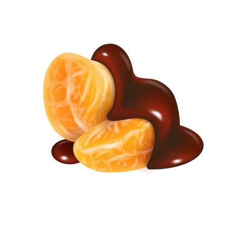 Tangerine slices in melted chocolate glaze. Mandarin peeled segments covered with liquid dark brown sauce isolated on white background. Orange sections in cocoa cream. Photorealistic vector illustration for food packaging.