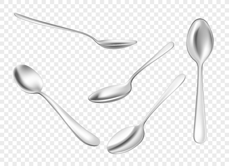 Set of realistic metal spoons from different points of view. 3d realism. Vector stainless steel teaspoon illustration isolated on transparent background. Illusztráció