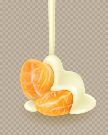 Tangerine slices in pouring melted white chocolate glaze. Mandarin peeled segments covered with liquid leaking yogurt sauce isolated on white background. Orange sections in flowing sweet cream. Photorealistic 3d vector illustration for food packaging.
