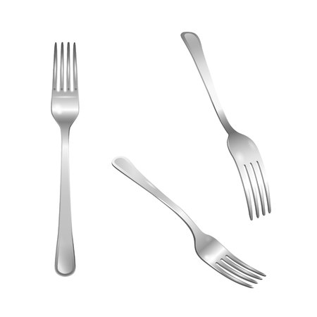 Set of realistic metal forks from different points of view. 3d realism. Vector stainless steel cutlery illustration isolated on white background.