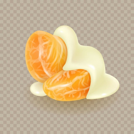 Tangerine slices in melted white chocolate glaze. Mandarin peeled segments covered with liquid yogurt sauce isolated on white background. Orange sections in sweet cream. Photorealistic 3d vector illustration for food packaging.