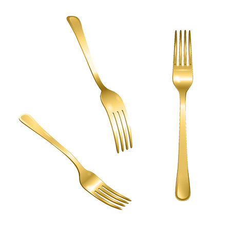 Set of realistic bronze forks from different points of view. 3d realism. Vector metal cutlery illustration isolated on white background.  イラスト・ベクター素材