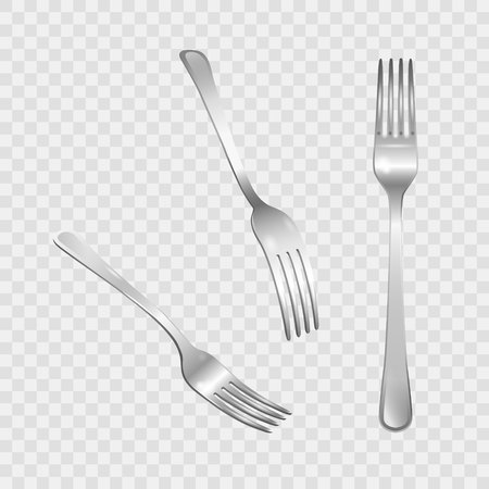 Set of realistic metal forks from different points of view. 3d realism. Vector stainless steel cutlery illustration isolated on transparent background.