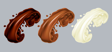 Dark, milk and white chocolate 3d splashes set. Cocoa leaking cream realistic illustration. Vector hyperrealism. Pouring drop isolated on grey background Çizim