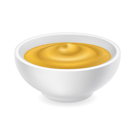 Realistic 3d mustard in a bowl. Stok Fotoğraf - 126362156