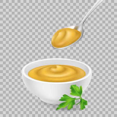 Realistyczna musztarda 3d w misce i łyżce. Żółty sos na przezroczystym tle. Pikantny dressing w kokilek z pietruszką. Widok z boku, ilustracji wektorowych do pakowania żywności. Realizm.