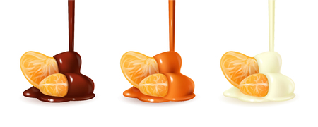 Tangerine slices in pouring melted chocolate glaze. Mandarin peeled segments covered with liquid dark brown sauce isolated on white background. Orange sections in flowing cocoa cream. Photorealistic 3d vector illustration for food packaging