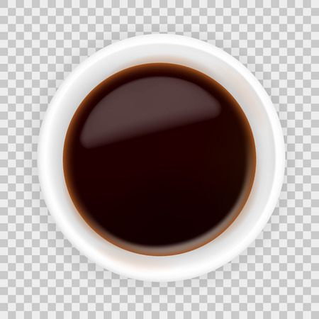 Realistic soy sauce in a white bowl. 3d vector illustration of balsamic vinegar isolated on transparent background. Spicy dressing in ramekin. Top view