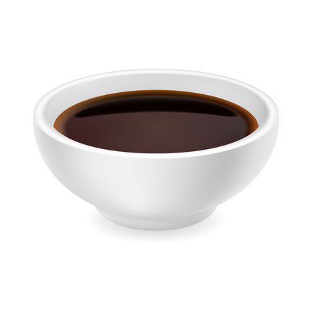 Realistic soy sauce in a bowl. 3d vector illustration of balsamic vinegar isolated on white background. Dressing in round ramekin. Side view Illusztráció