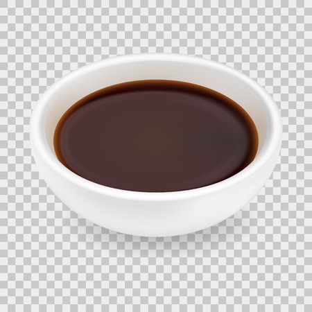 Realistic soy sauce in a white bowl.