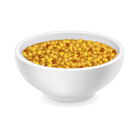 Realistic 3d french whole grain mustard in a round bowl. Yellow sauce isolated on white background. Spicy dressing in ramekin. Side view, realism. Vector design illustration Çizim