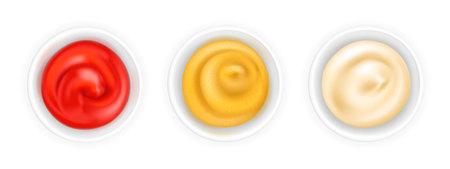 Ketchup 3d realista, mostaza francesa y mayonesa en un tazón. Salsa de tomate aislada sobre fondo blanco. Composición de aderezo de especias en ramekin. Vista superior, ilustración vectorial para envasado de alimentos. Realismo. Ilustración de vector