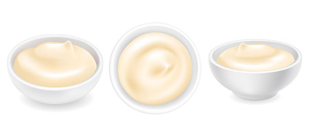 Realistic 3d mayonnaise or sour cream in a round bowl set. Creamy sauce, yoghurt isolated on white background. Yogurt dressing in ramekin. Side top view, realism. Vector design illustration