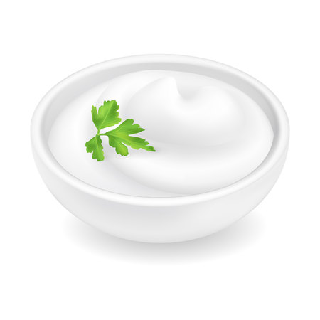 Realistic 3d mayonnaise or sour cream in a round bowl. Archivio Fotografico - 126362157