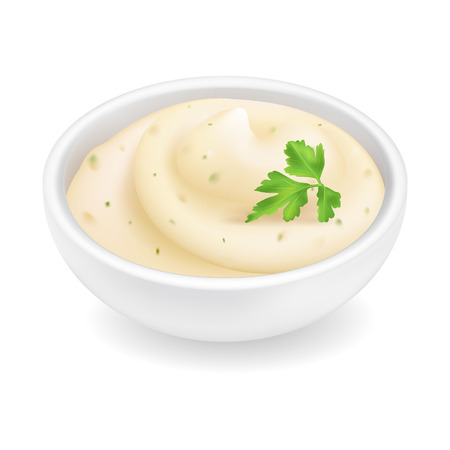 Realistic 3d tartar sauce in a round bowl. Creamy tartare sauce isolated on white background. Mayonnaise condiment for fish in ramekin with parsley. Side view, realism. Vector design illustration 向量圖像