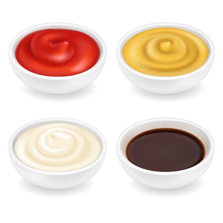 Realistic 3d ketchup, french mustard, soy sauce and mayonnaise in bowl set isolated on white background. Spice dressing composition in ramekin. Side view, vector illustration for food packaging. Realism.