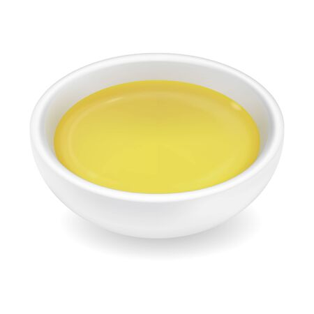 Realistic 3d olive or sunflower oil in a round sauce bowl. Yellow liquid honey isolated on white background. Organic vegetarian dressing in ramekin. Side view, realism. Vector food design illustration