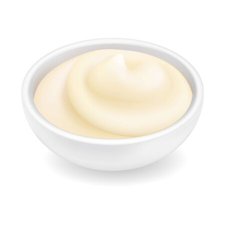 Realistic 3d mayonnaise or sour cream in a round bowl. Creamy sauce, yoghurt isolated on white background. Dressing in ramekin. Side view, realism. Vector design illustration